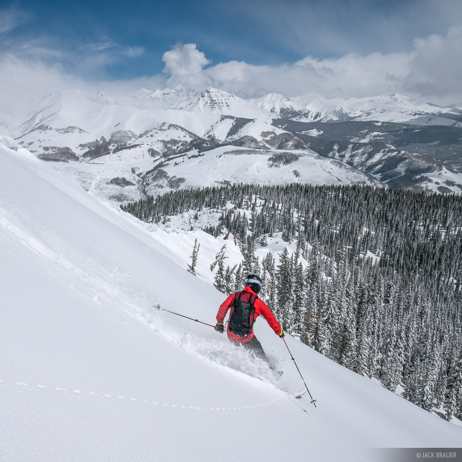 Paul DiG skis Teocalli Bowl on Mt. Crested Butte in late April after the lifts have closed.