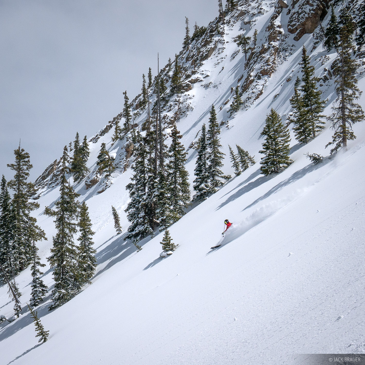 Paul DiG skis Third Bowl on Mt. Crested Butte in late April after the lifts have closed.
