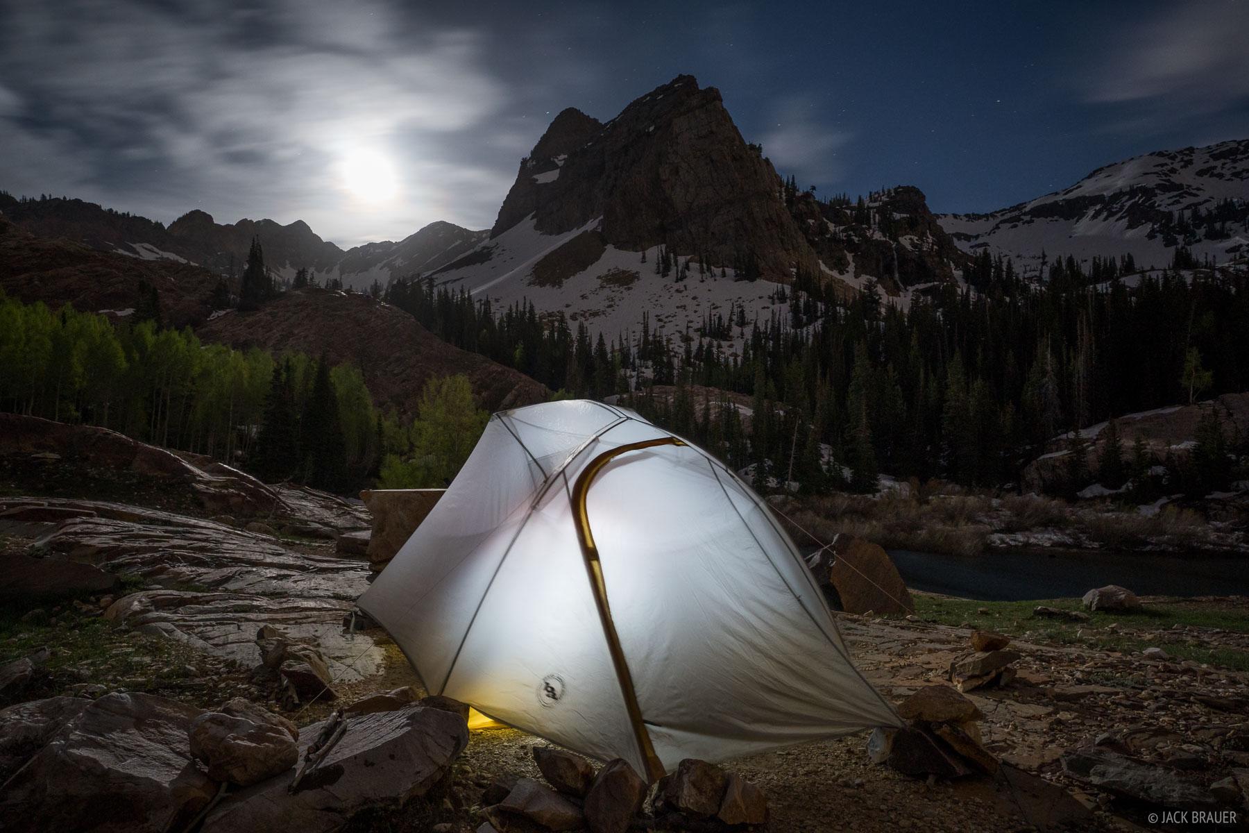 Lake Blanche, Sundial Peak, Twin Peaks Wilderness, Utah, Wasatch Range, moonlight, tent, photo