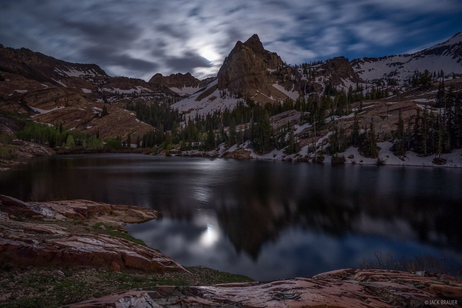 Lake Blanche, Sundial Peak, Twin Peaks Wilderness, Utah, Wasatch Range, moonlight, photo