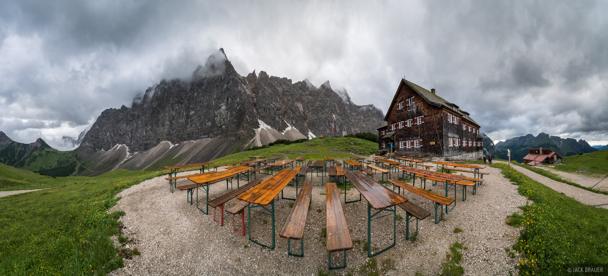The Falkenhütte patio offers a jaw dropping view of the vertical mountain walls of the Karwendel range. Unfortunately rainy...