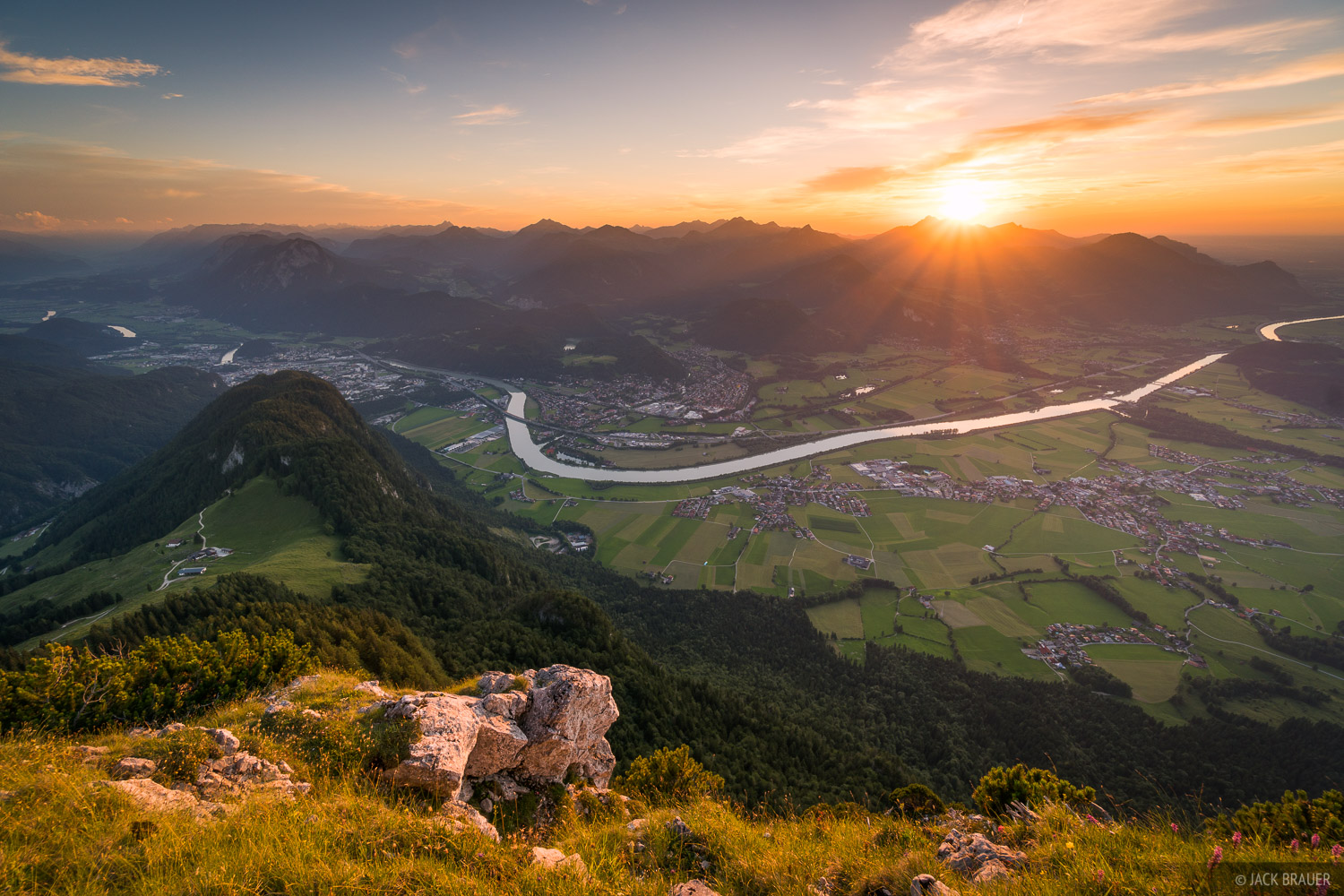 Austria, Kaisergebirge, Naunspitze, sunset, Inn River, Kufstein, Alps, photo
