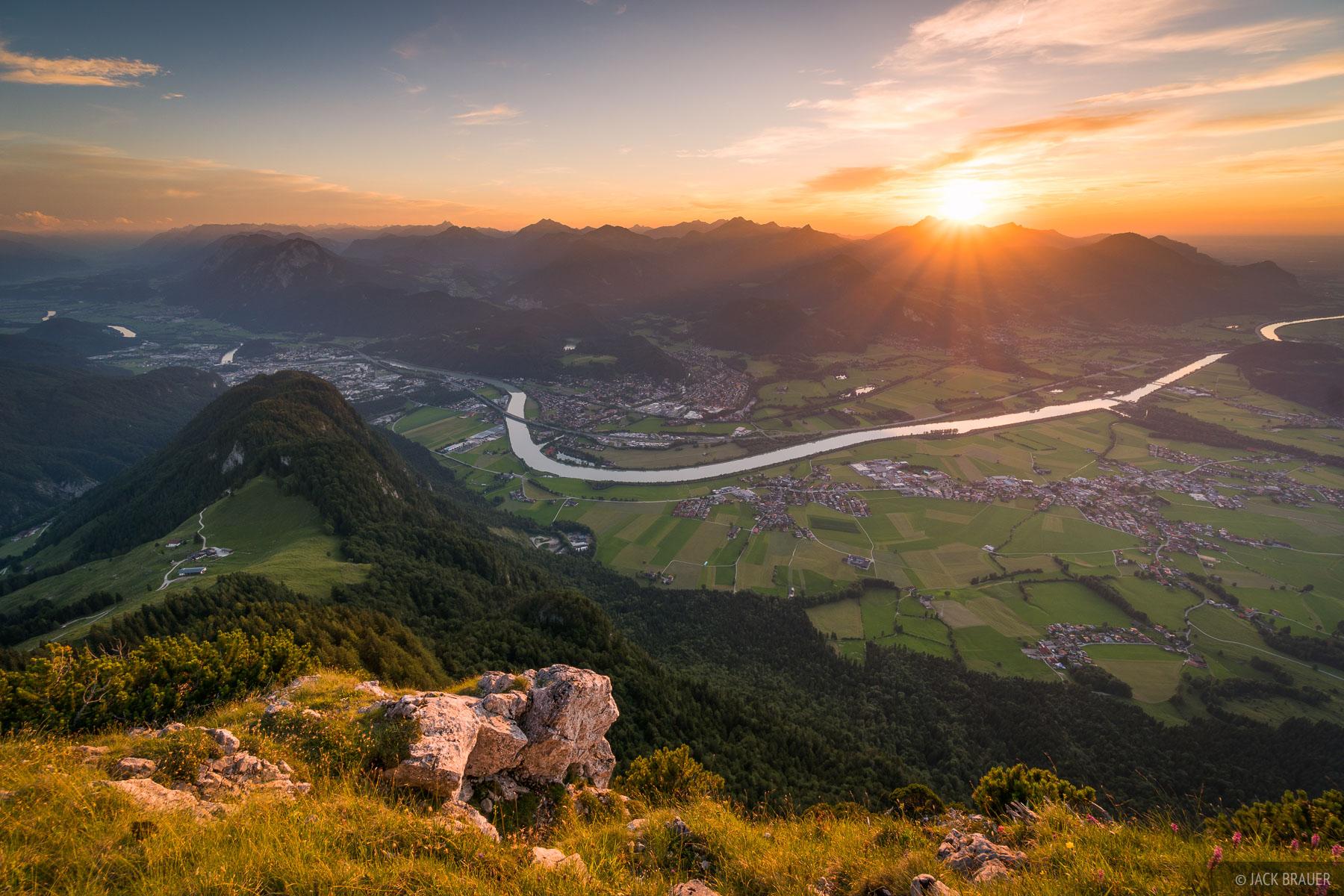 Austria, Kaisergebirge, Naunspitze, sunset, Inn River, Kufstein, photo