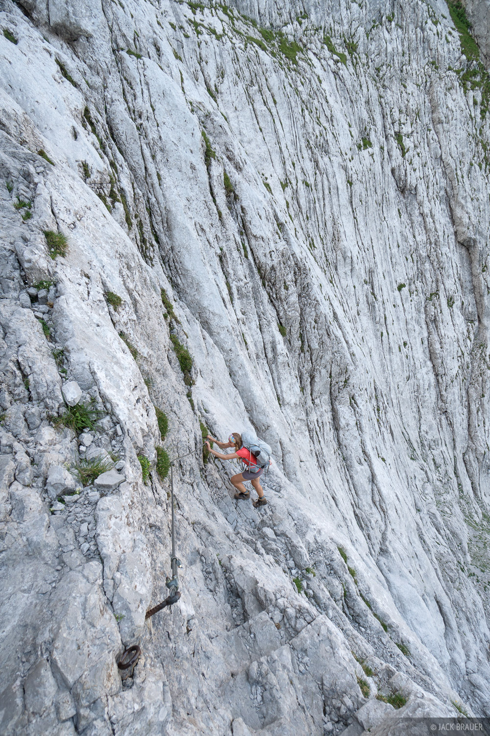 Scrambling up the intimidating Eggersteig route.