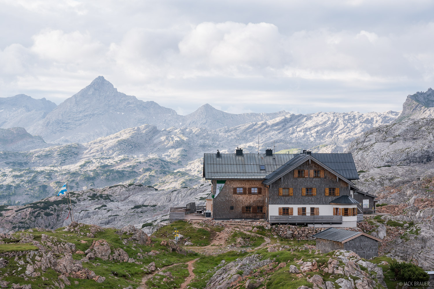 "Situated on a high ridge in the middle of the vast and inhospitable ""Stony Sea"" limestone plateau, the Ingolstädterhütte is..."