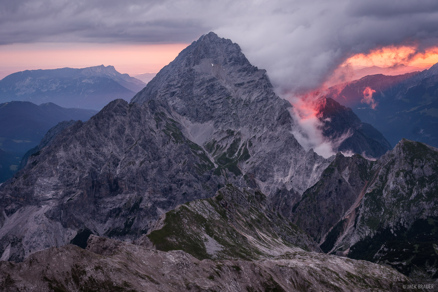 Sunrise behind Watzmann (2713 m / 8900 ft), as seen from the summit of Grosse Hundstod (2590 m / 8497 ft).