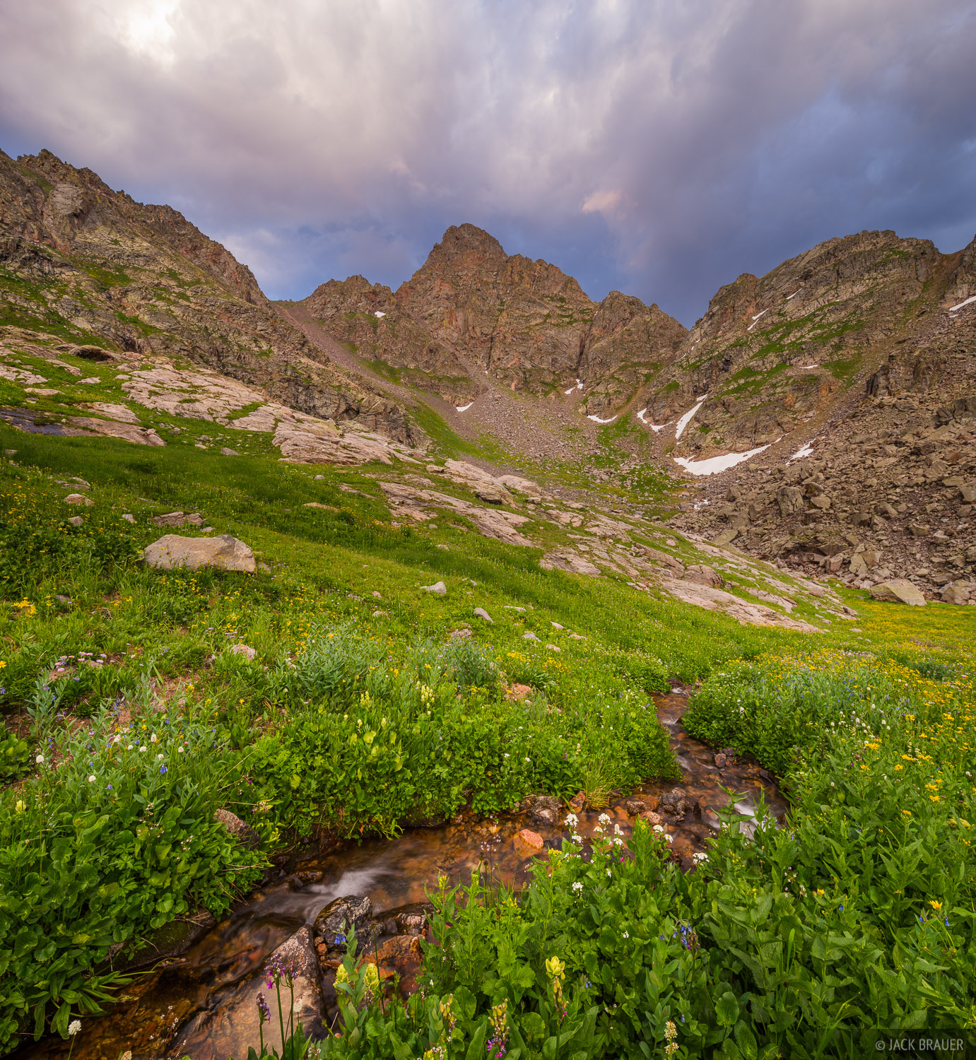 An alpine stream below Peak C and Kneeknocker Pass.