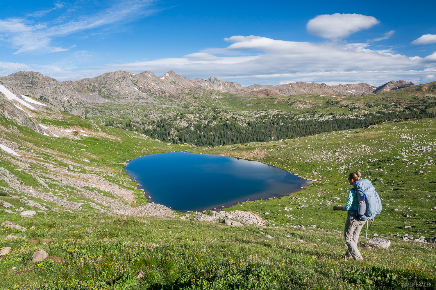 Hiking over Missouri Pass with Treasure Vault Lake ahead. This area at the head of Cross Creek is a tundra paradise!