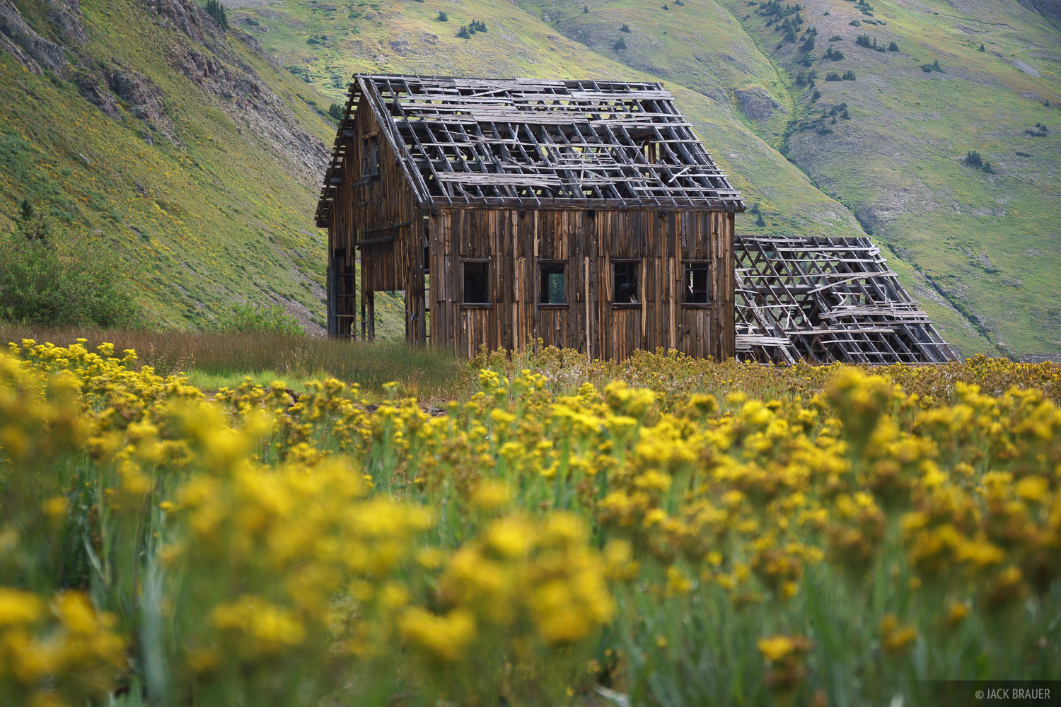 A dilapidated mine ruin in California Gulch above the mining ghost town of Animas Forks (up valley from Silverton).
