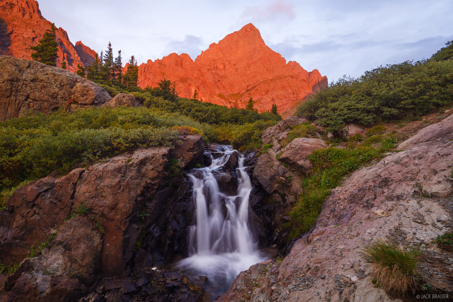 Colorado, Crestone Needle, Sangre de Cristos, waterfall, 14er, sunrise, Sangre de Cristo Wilderness, photo