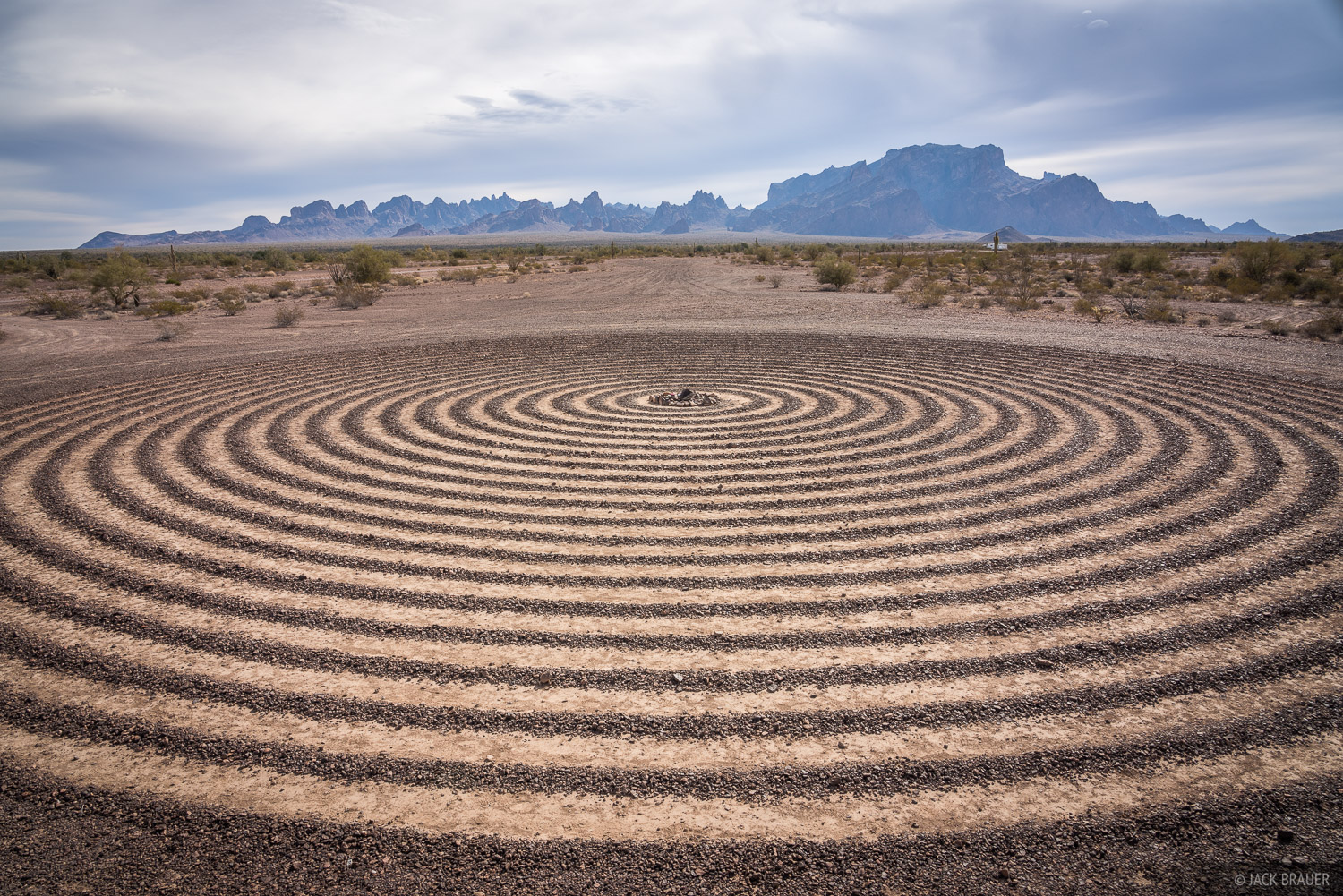 The spiral labyrinth with Signal Peak and the Kofa Mountains behind.