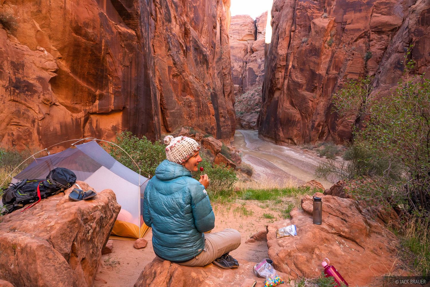 Camping above the Paria River in the Paria Canyon.