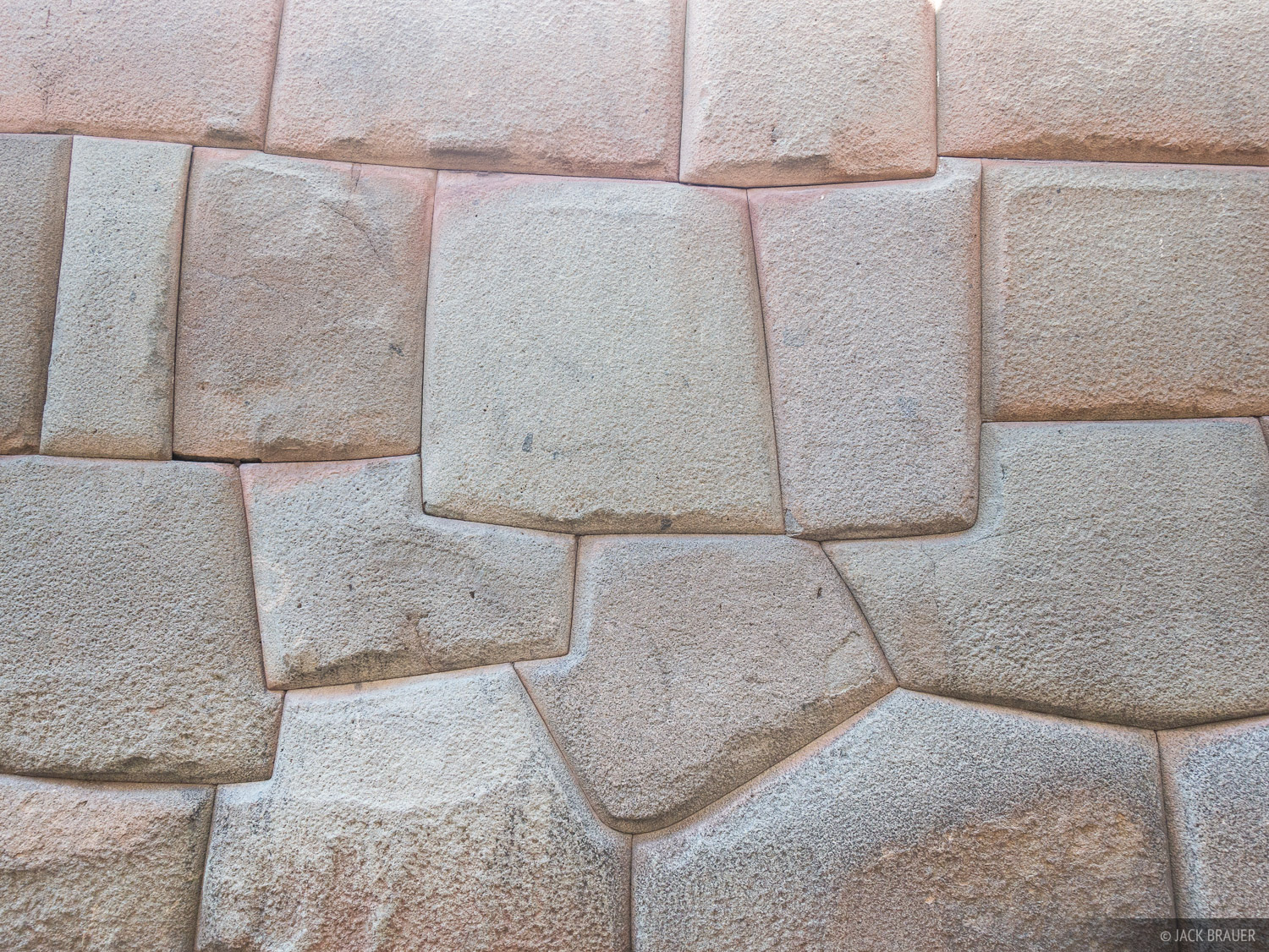 An example of the incredibly precise craftsmanship of Incan rockwork, as seen in Cusco. Huge granite stones are perfectly fitted...