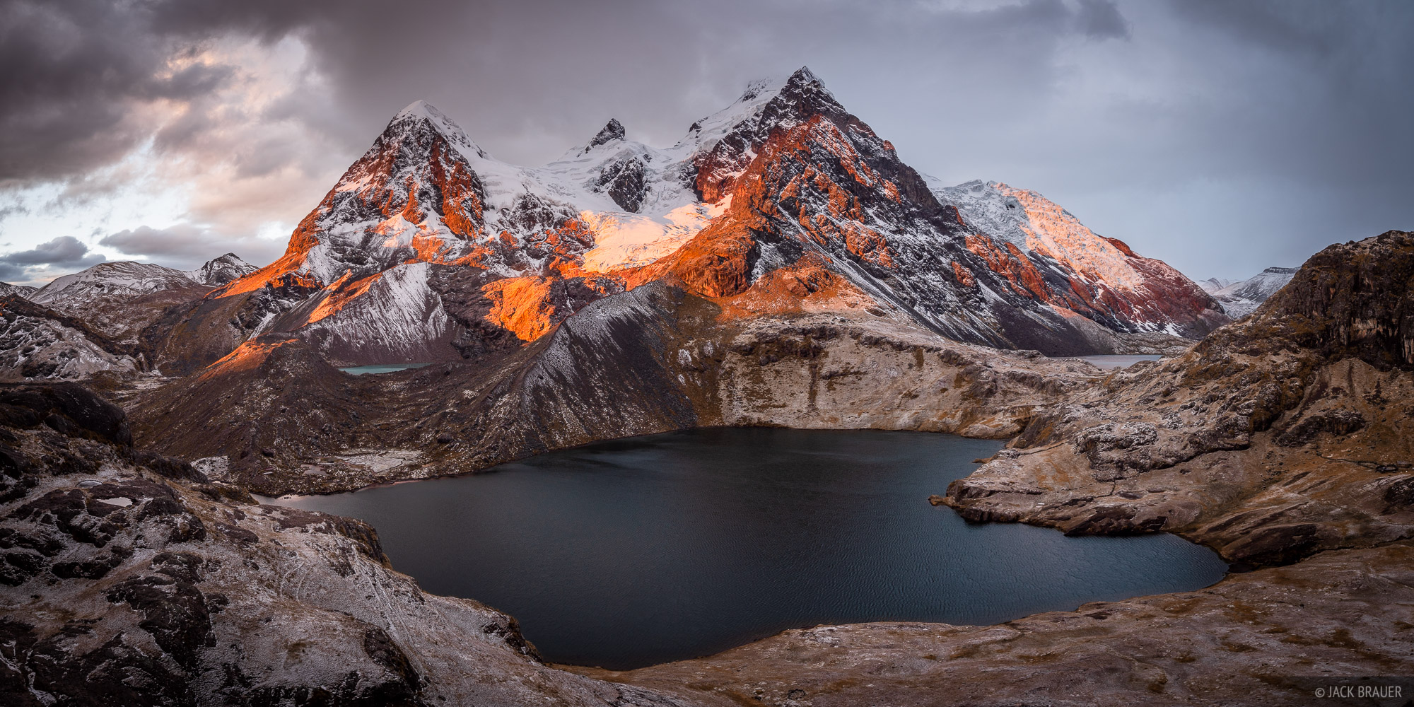 Ausangate, Cordillera Vilcanota, Lago Uchuy Pucacocha, Peru, South America, sunset, panorama, photo