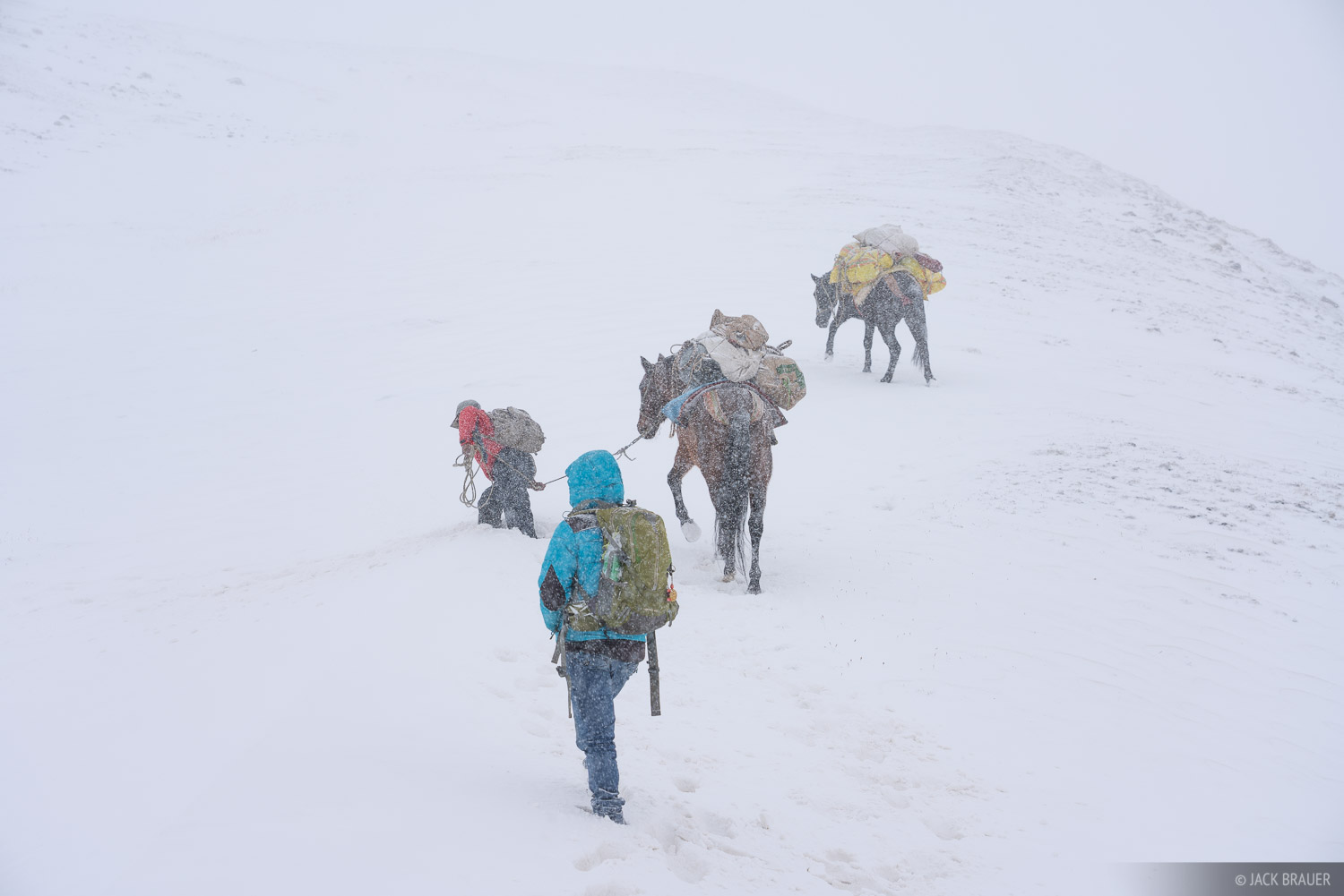Our horses wallow in deep snowdrifts on Abra Palomani.