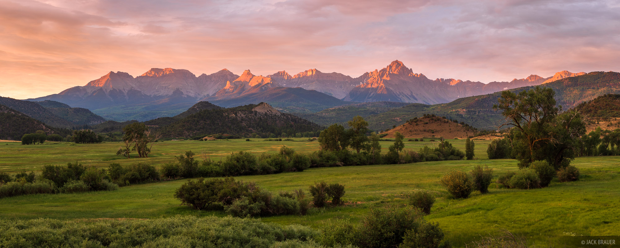 Colorado, Ridgway, San Juan Mountains, Sneffels Range, sunrise, panorama