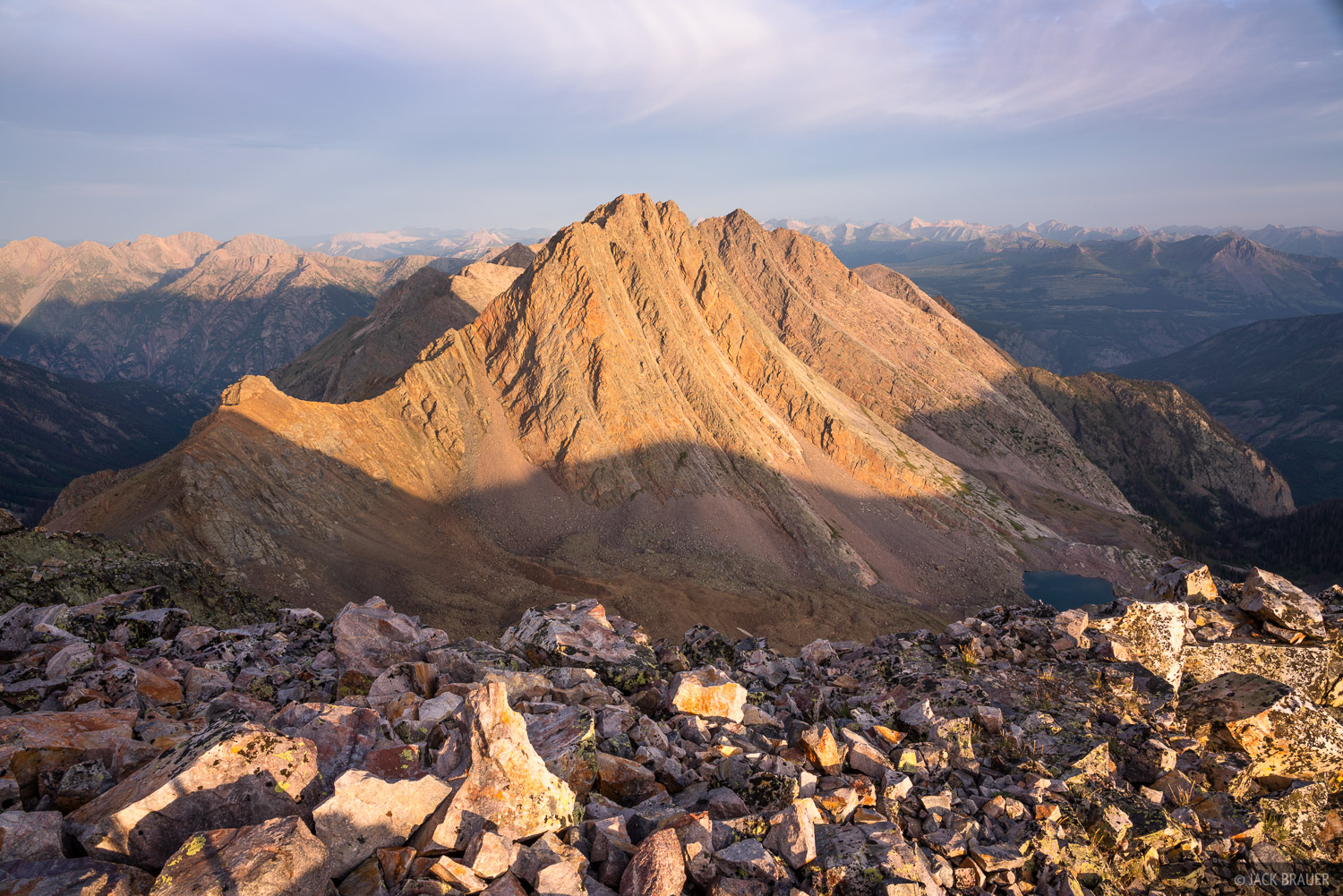 Sunrise light on Vestal Peak (13,664 ft) and its curved profile of Wham Ridge.