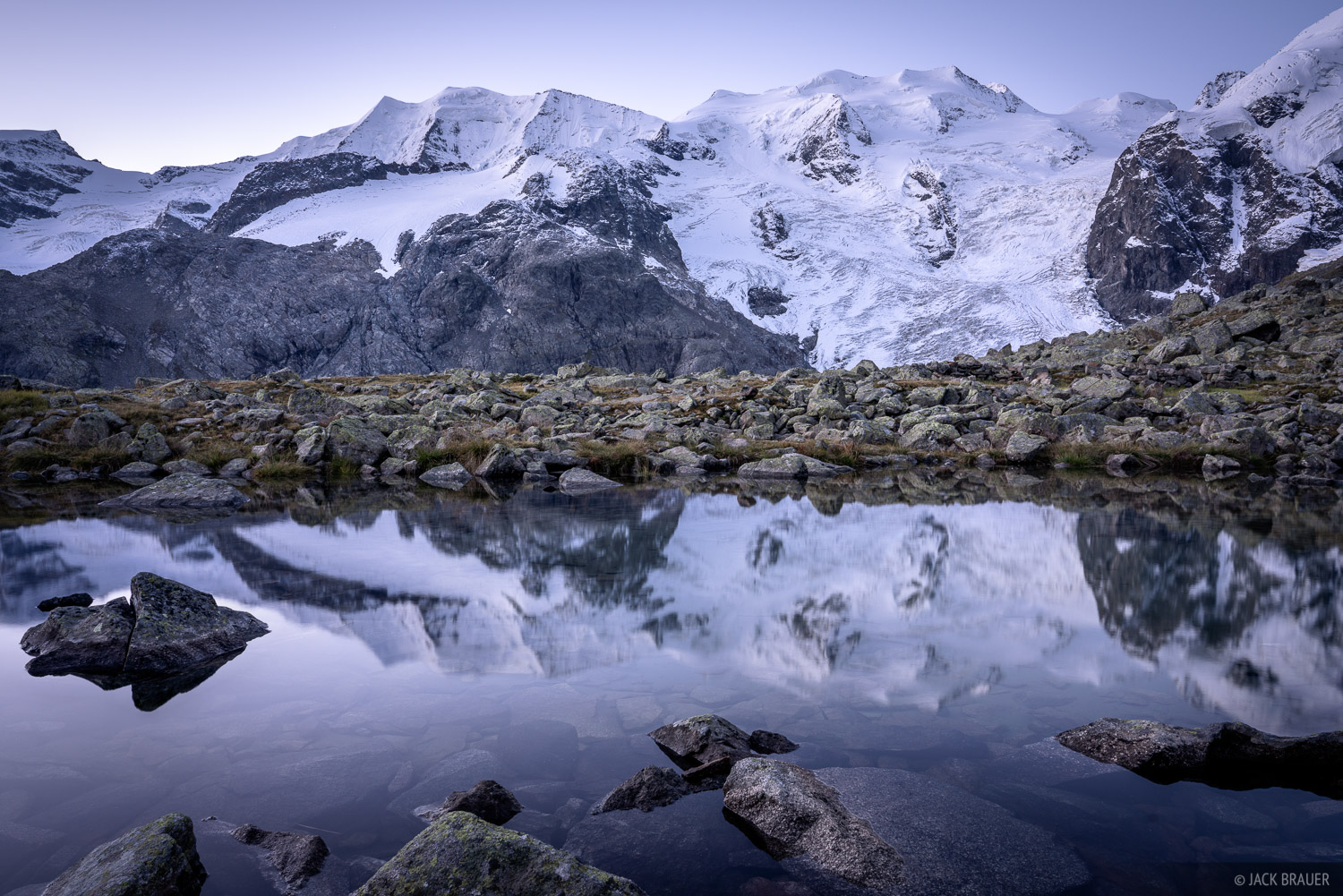 Bernina Range, Piz Palü, Piz Zupo, Rhaetian Alps, Switzerland, reflection, photo