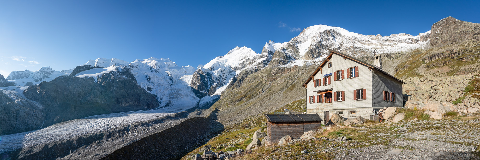Bernina Range, Boval Hut, Piz Bernina, Piz Palü, Piz Zupo, Rhaetian Alps, Switzerland, Vadret da Morteratsch, hut, photo