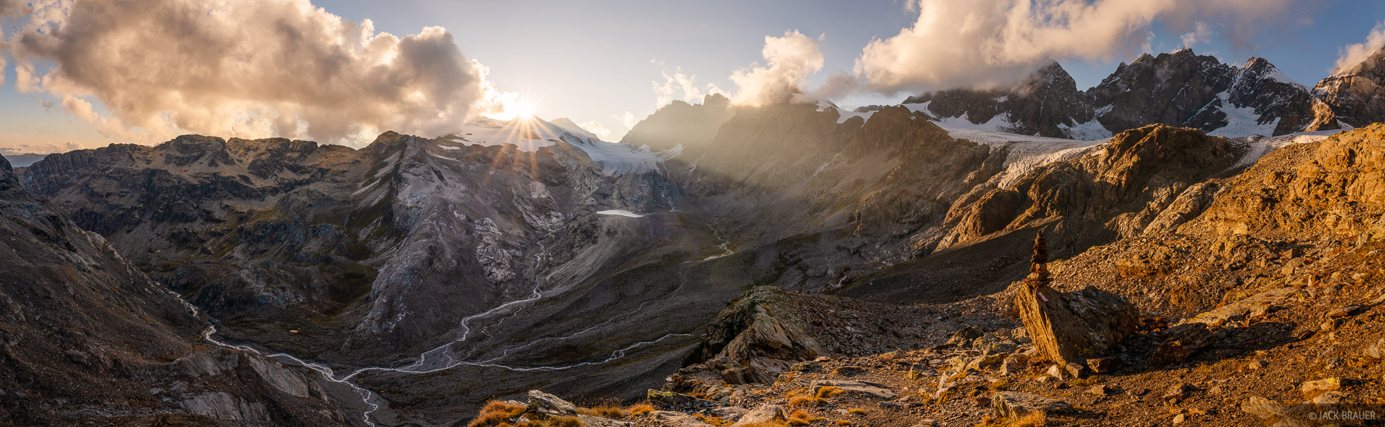 Sunset along the Italian (south) side of the Bernina Range, with Piz Scerscen at the right side.