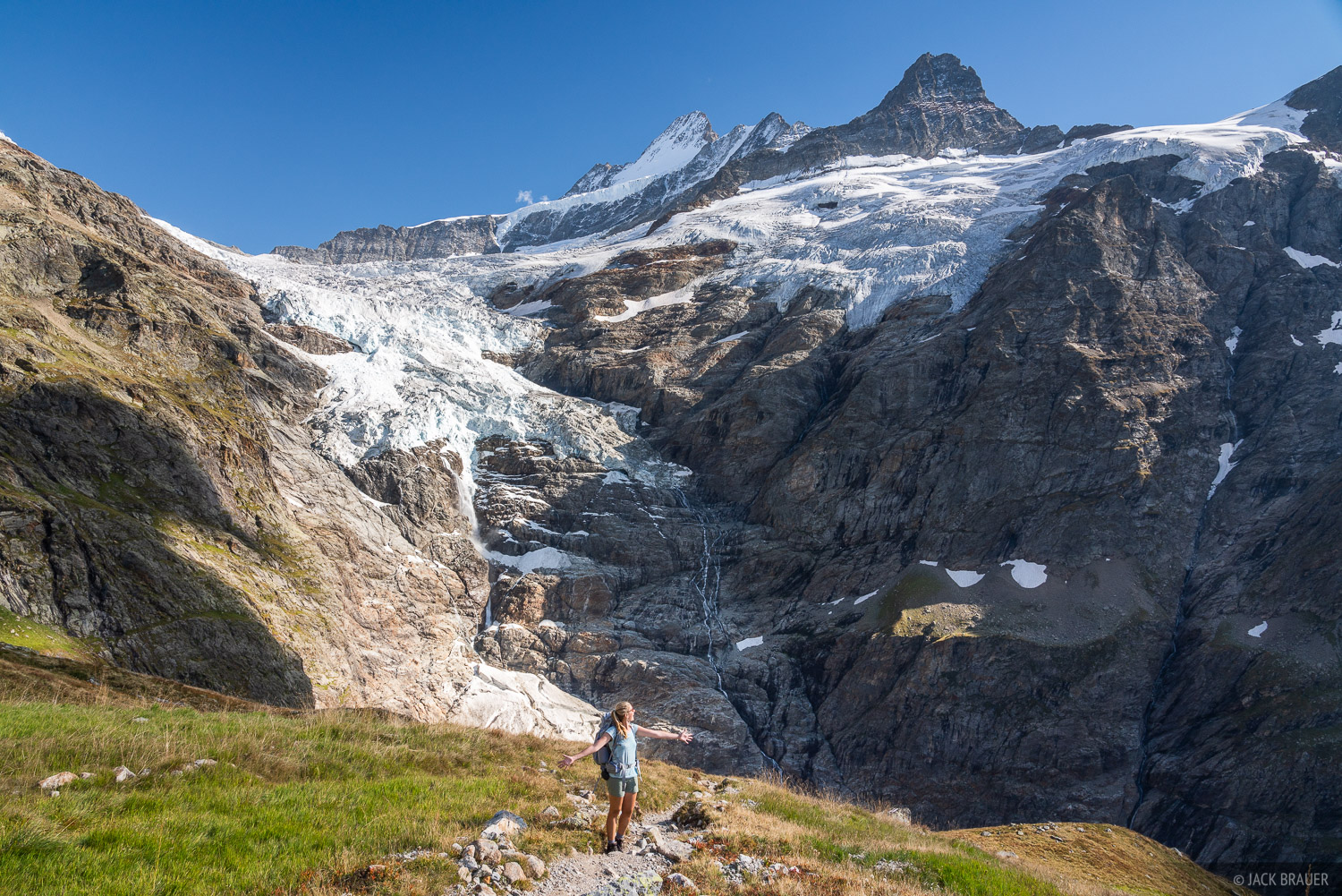Basking in the glory of the scene near the Glecksteinhütte, with the Oberer Grindelwald Glacier behind.