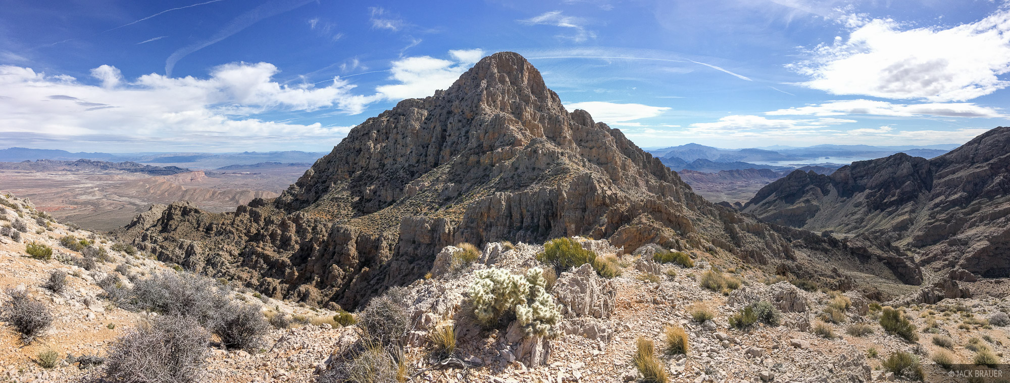 The summit block of Muddy Peak with Lake Mead in the distance.
