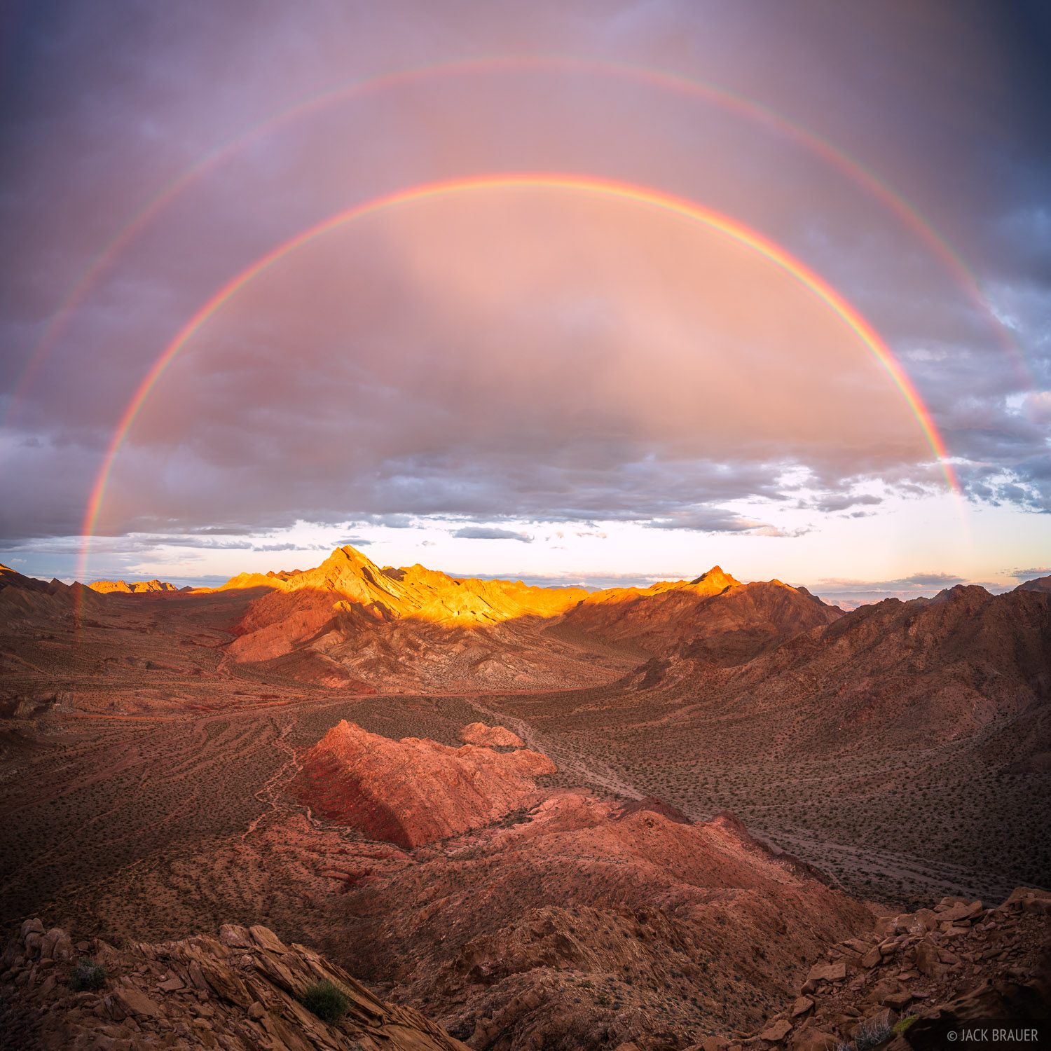 A spectacular double rainbow over the Pinto Valley in the Pinto Valley Wilderness of Nevada.