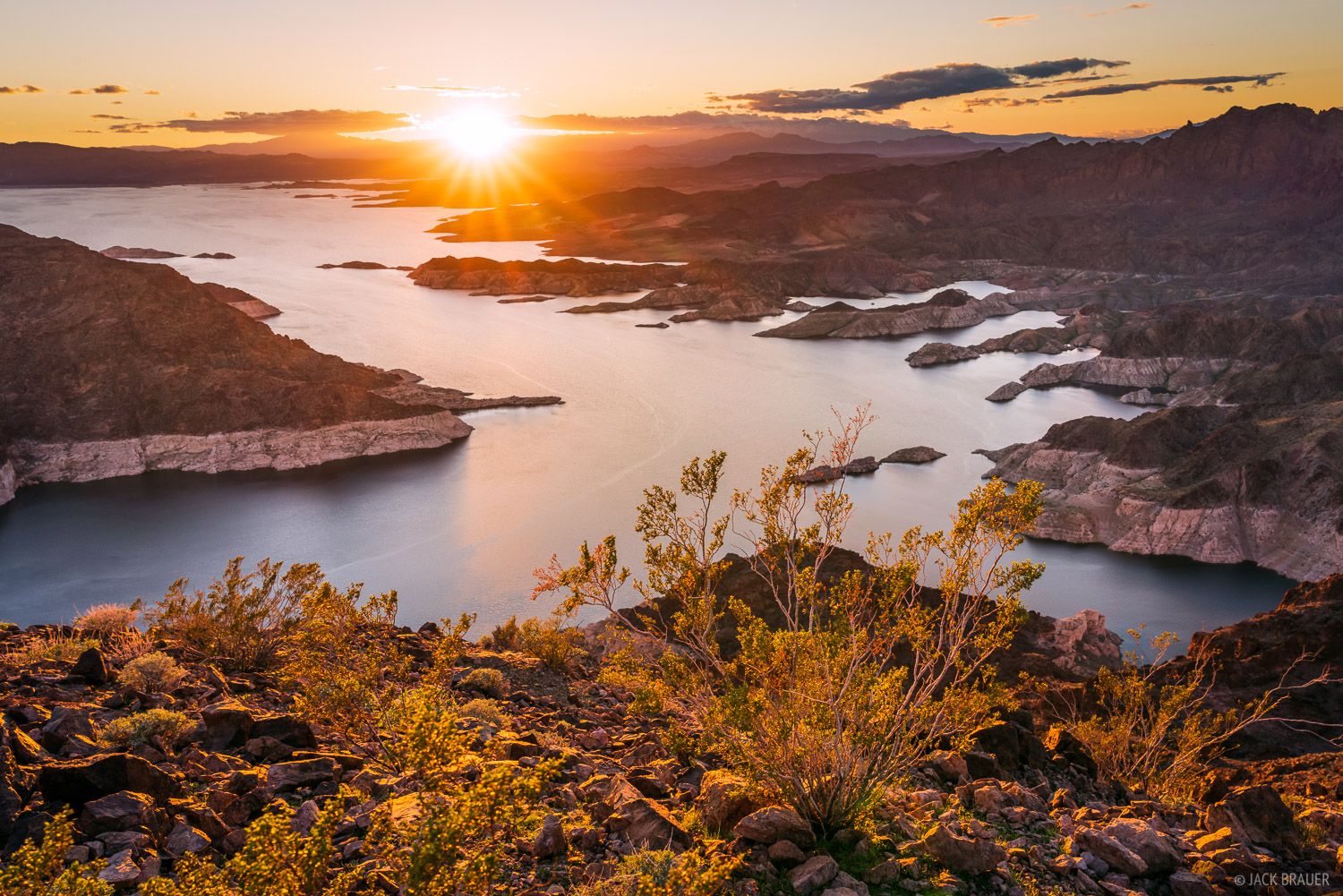 Sunset over Lake Mead reservoir.