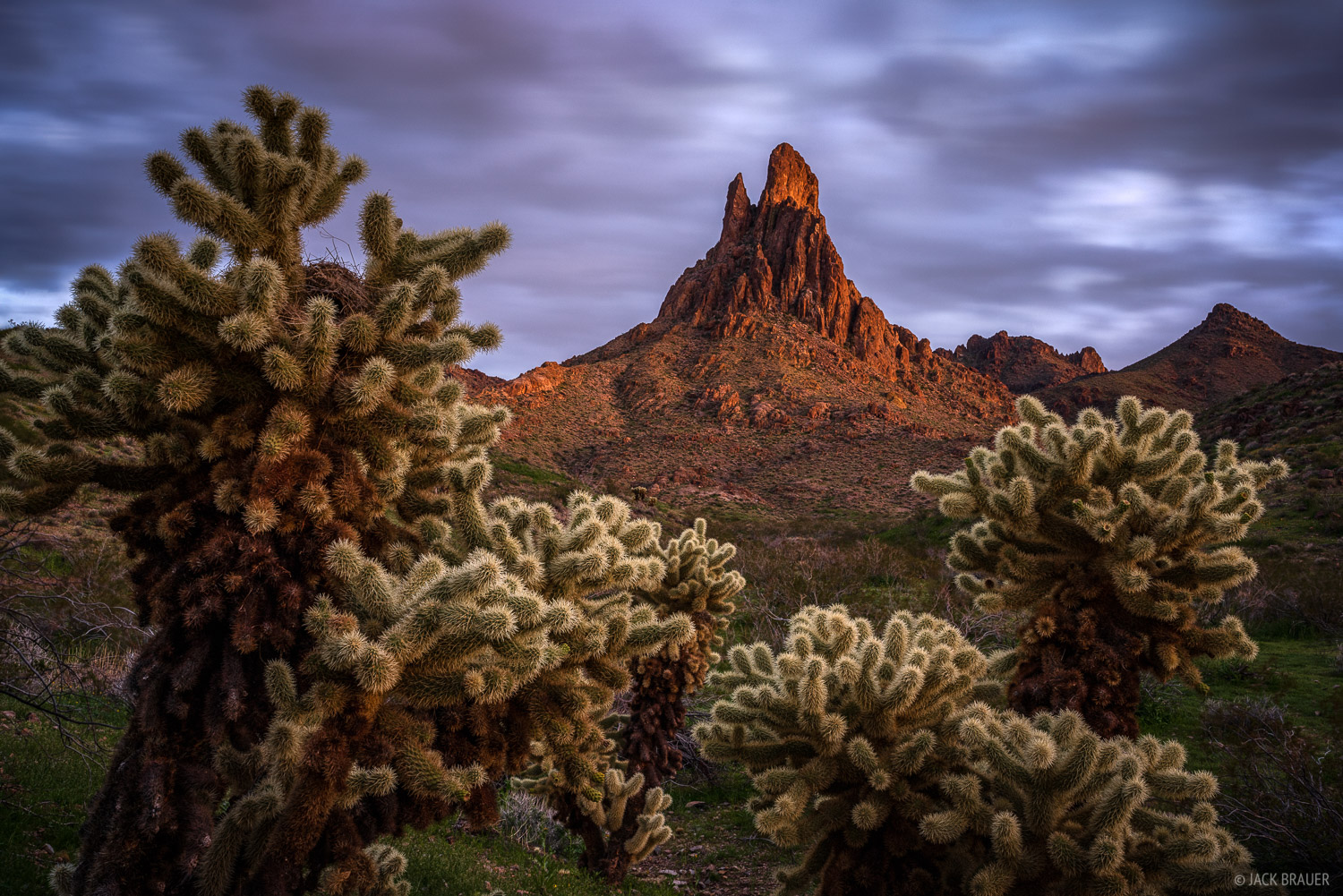 Dusk glow on Cathedral Rock in the Black Mountains of Arizona.