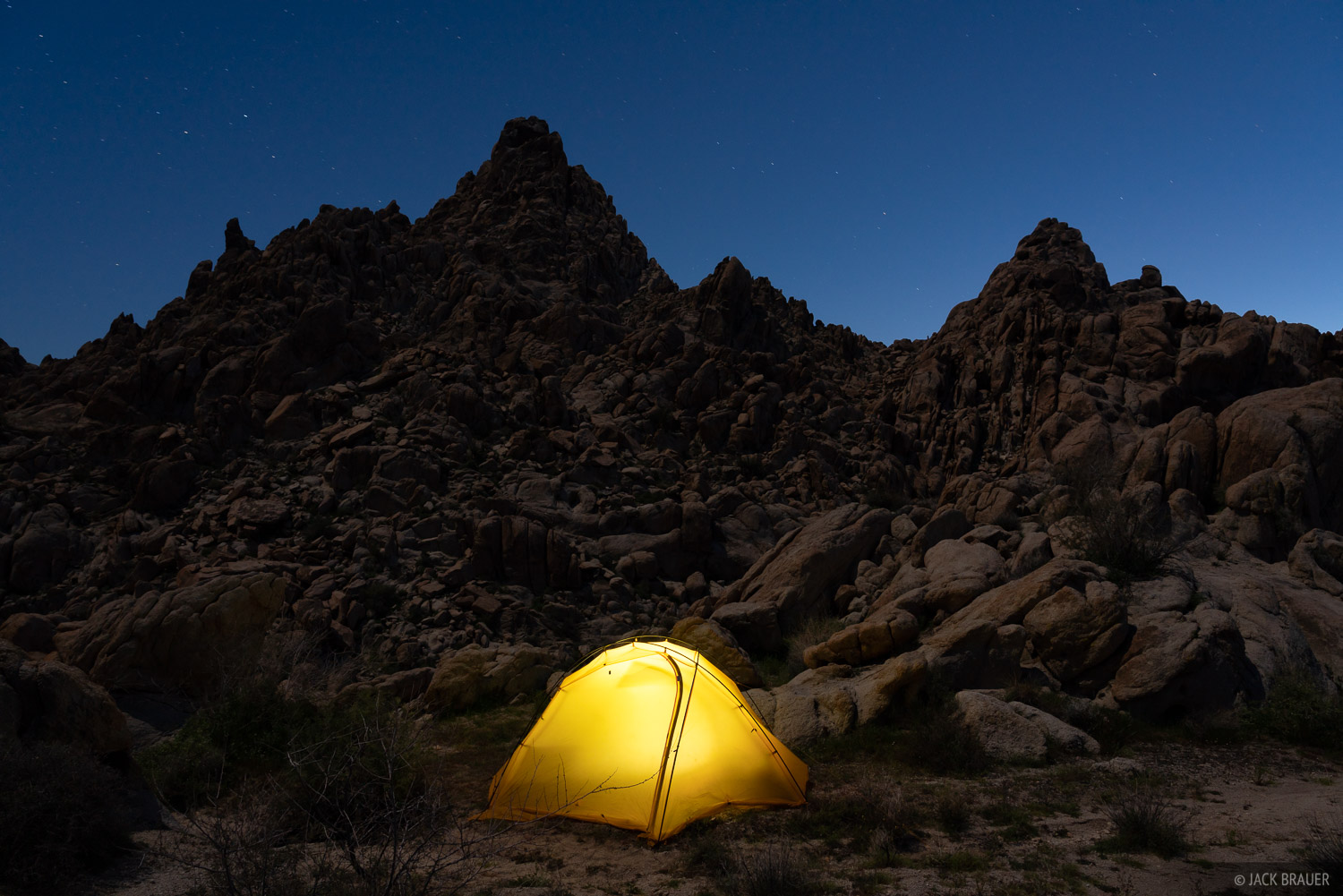 Camp in the Coxcomb Mountains.
