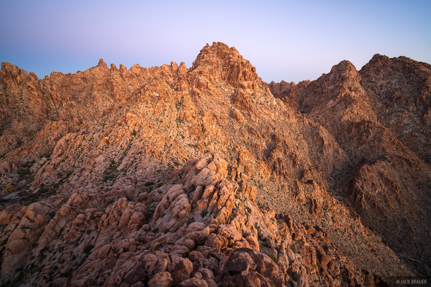 Dawn light in the Coxcomb Mountains.