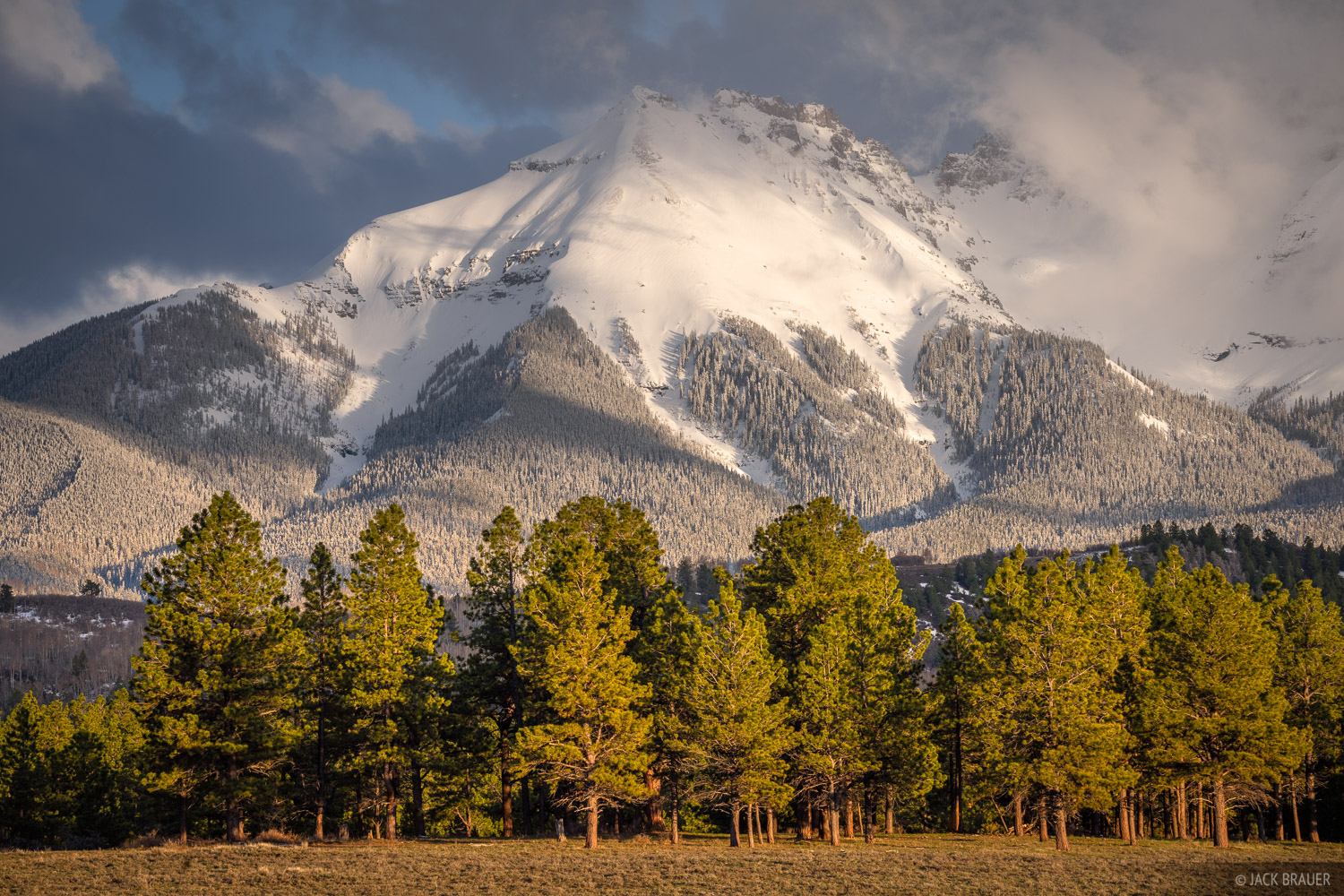 Evening light on Corbett in the Sneffels Range after a spring snowstorm.