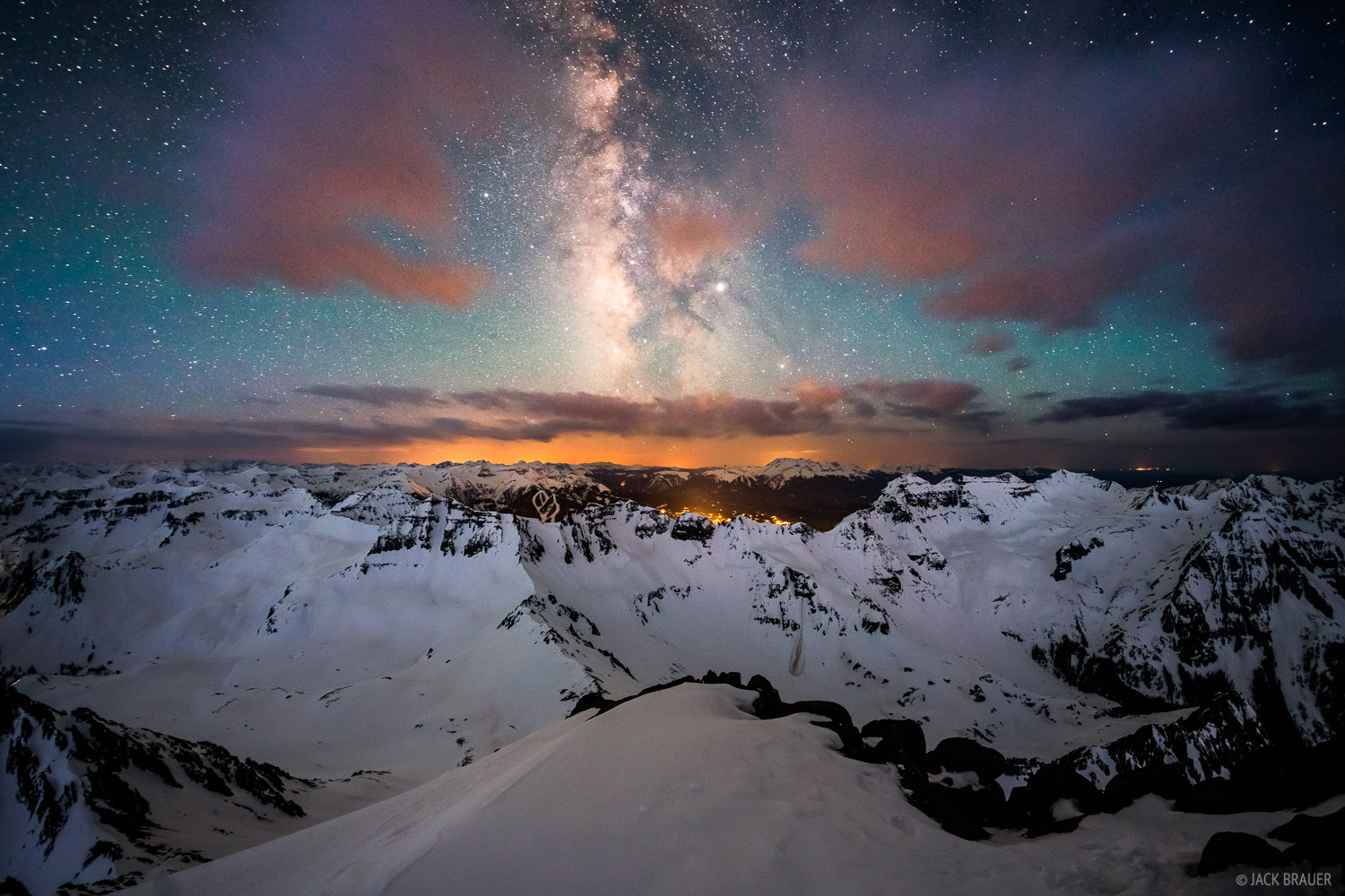 Colorado, Mt. Sneffels, San Juan Mountains, Sneffels Range, summit, Milky Way, Telluride