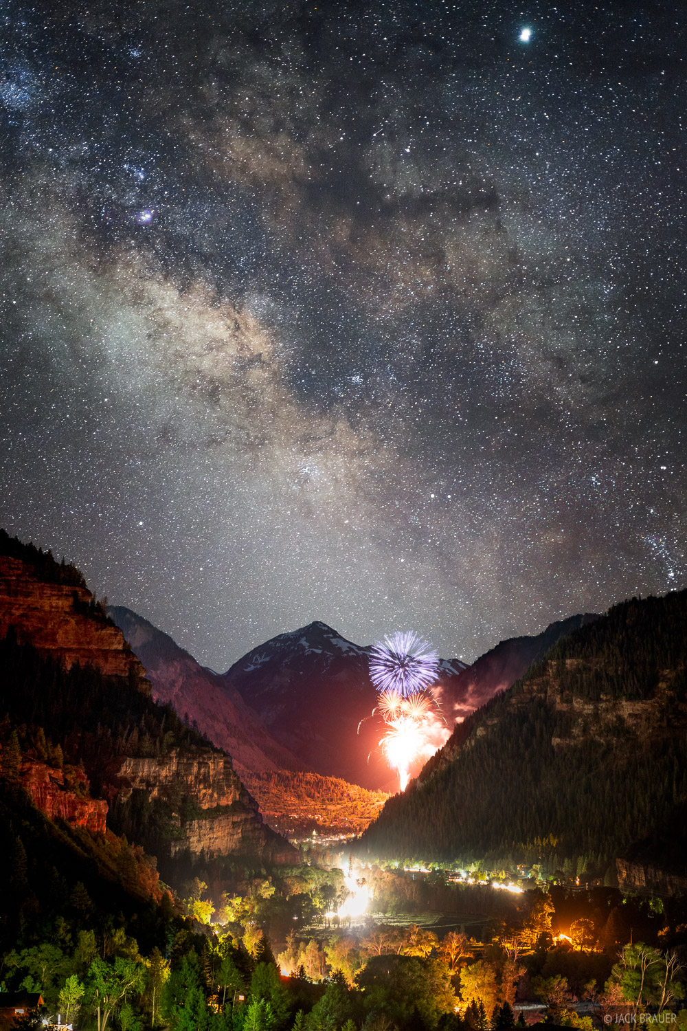 4th of July fireworks in Ouray, Colorado, with the Milky Way galaxy above. To create this photo I first photographed the fireworks...