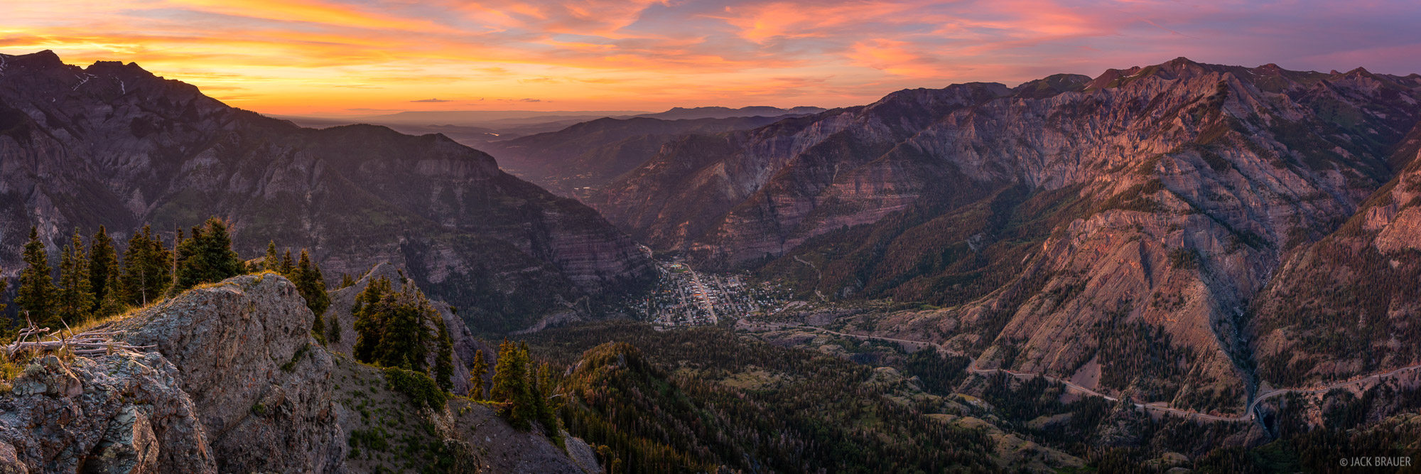 Colorado, Ouray, San Juan Mountains, panorama, sunset