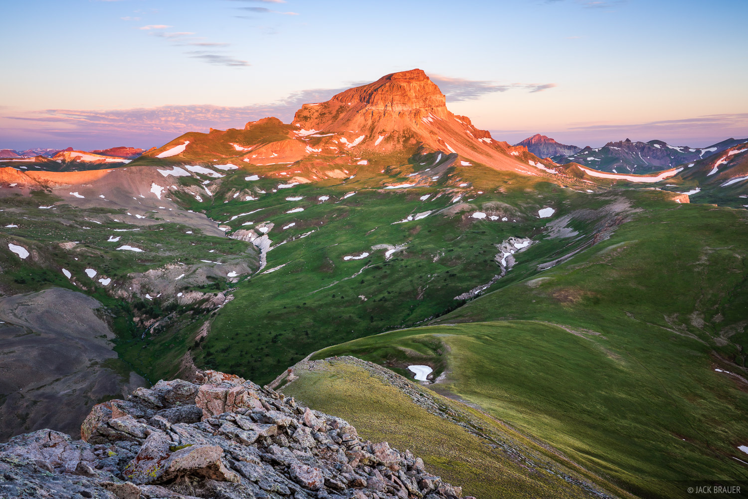 Sunrise light on Uncompahgre Peak, the highest mountain in the San Juan Mountains at 14,309 ft. tall.
