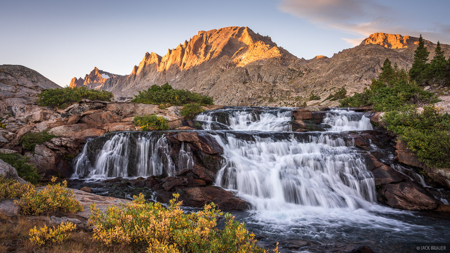 Bridger Wilderness, Fremont Peak, Wind River Range, Wyoming, waterfall, photo