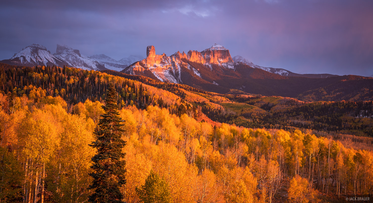 Cimarrons, Colorado, San Juan Mountains, aspens, Courthouse Mountain, Chimney Rock, autumn, photo