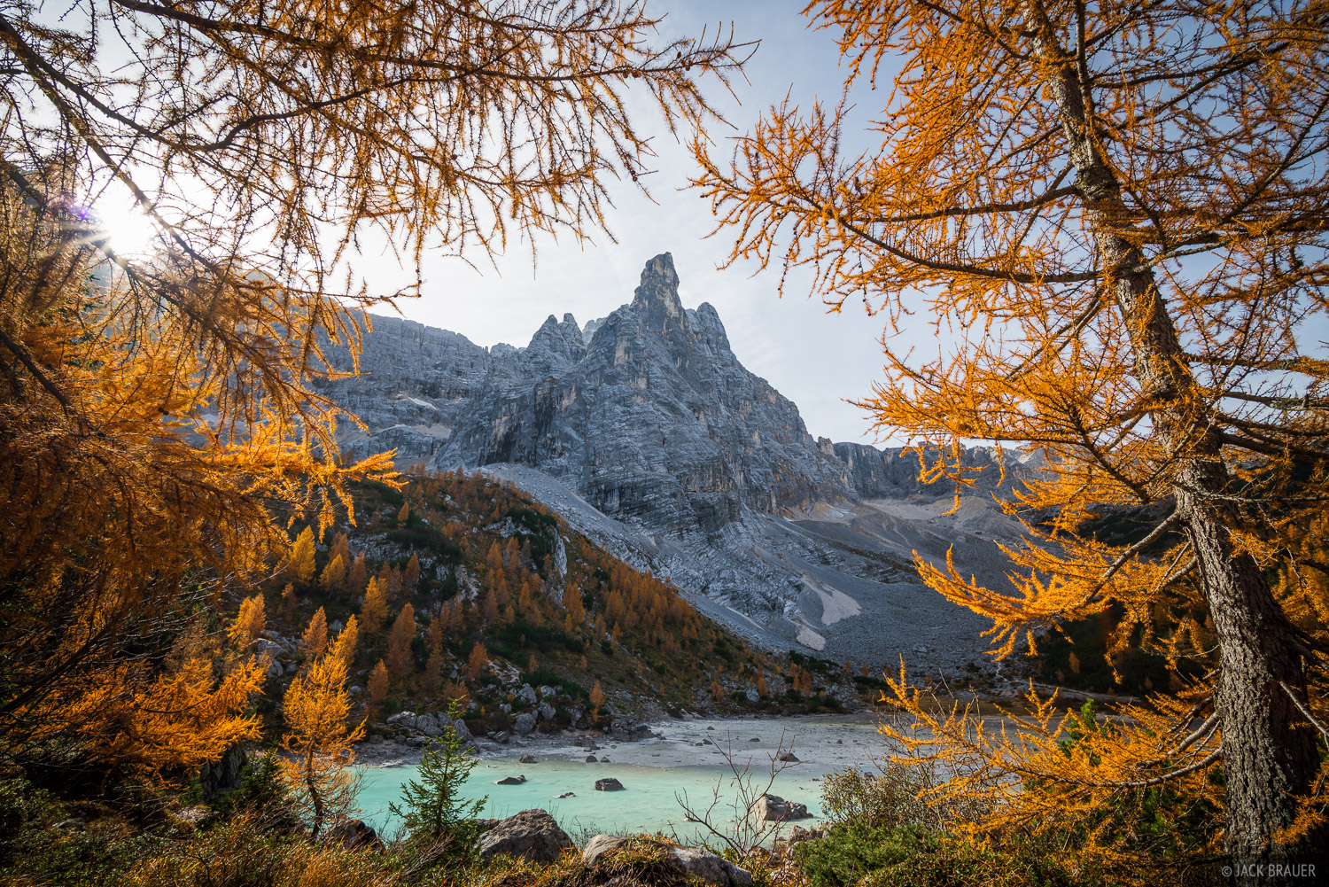 Dolomites, Italy, Lago Sorapiss, larch, October, Alps, photo