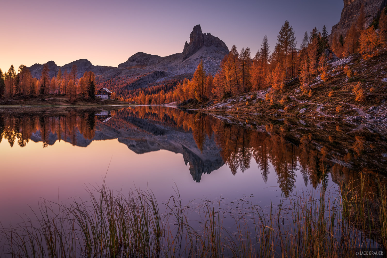 Becco di Mezzodi, Dolomites, Italy, Lago Federa, larch, October, reflection, Alps, photo