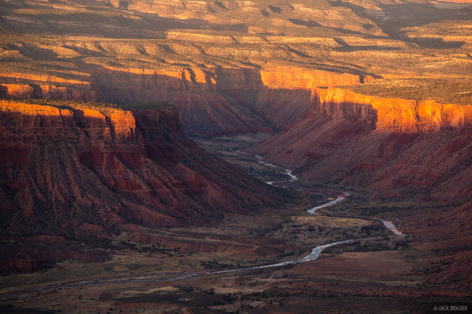 Morning light shines on sandstone cliffs above the Dolores River as it flows across the stateline from Colorado into Utah, where...
