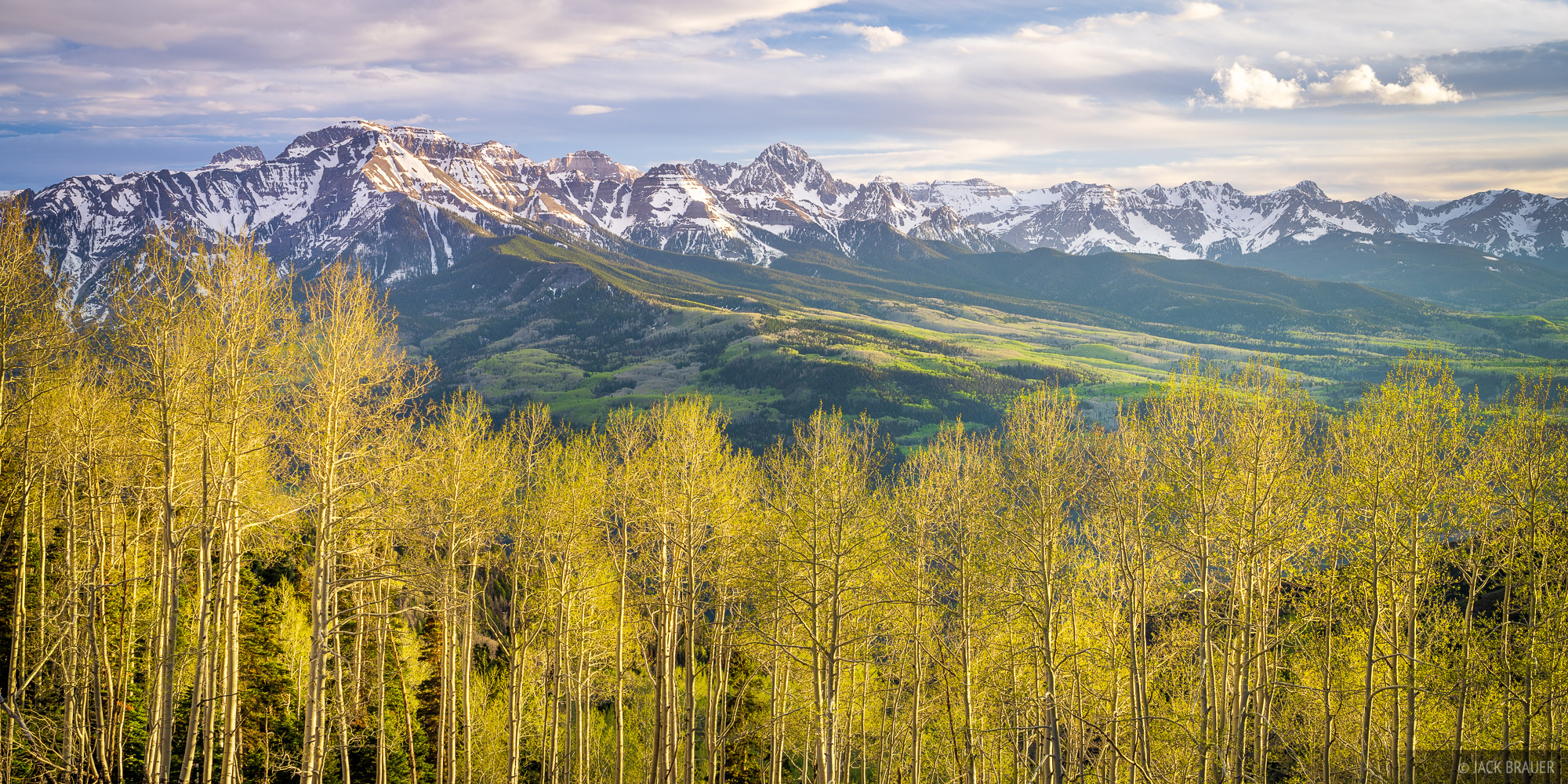 Baldy Peak, Colorado, San Juan Mountains, Sneffels Range, spring, aspens, photo