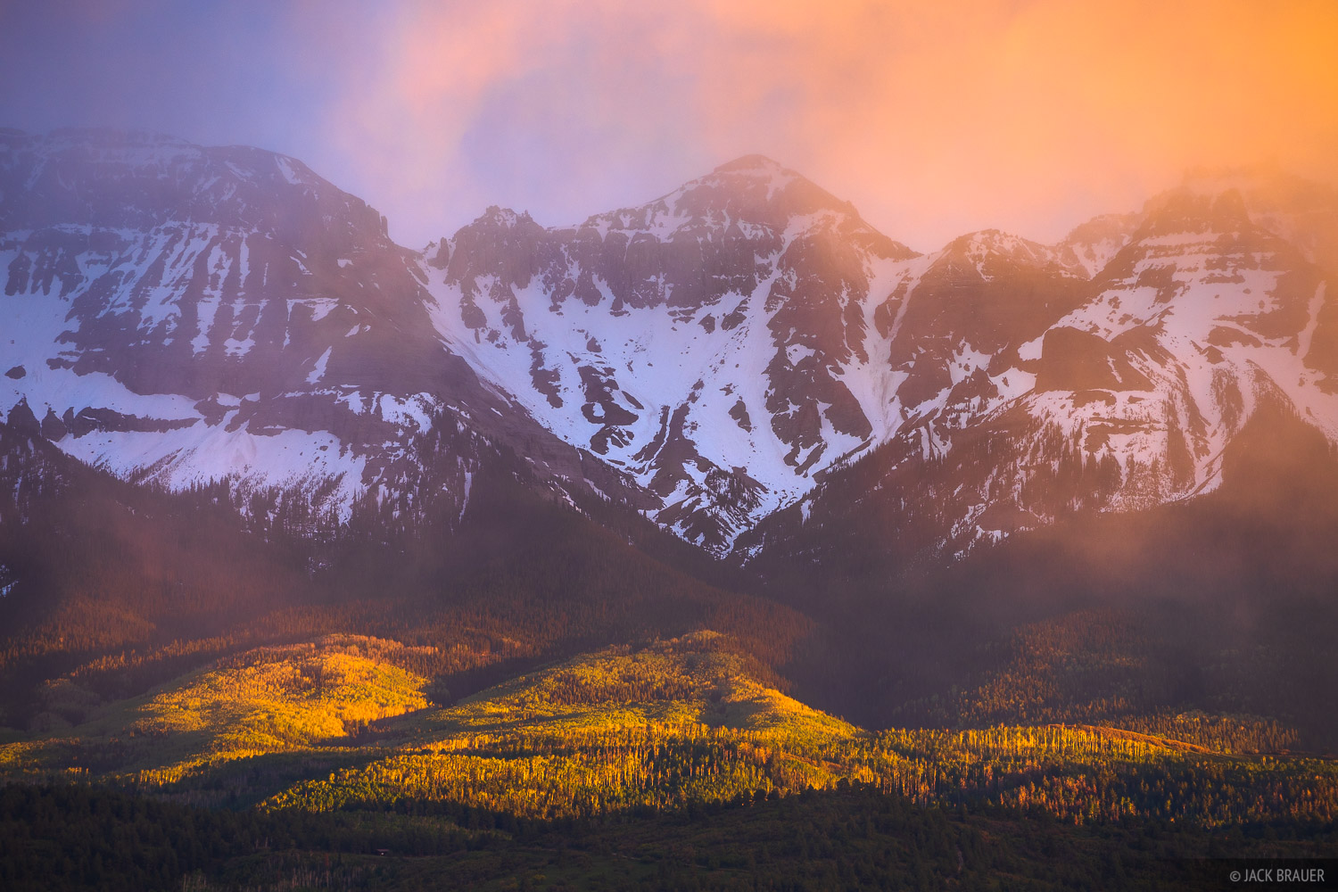 Log Hill, San Juan Mountains, Sneffels Range, Mount Ridgway, sunset