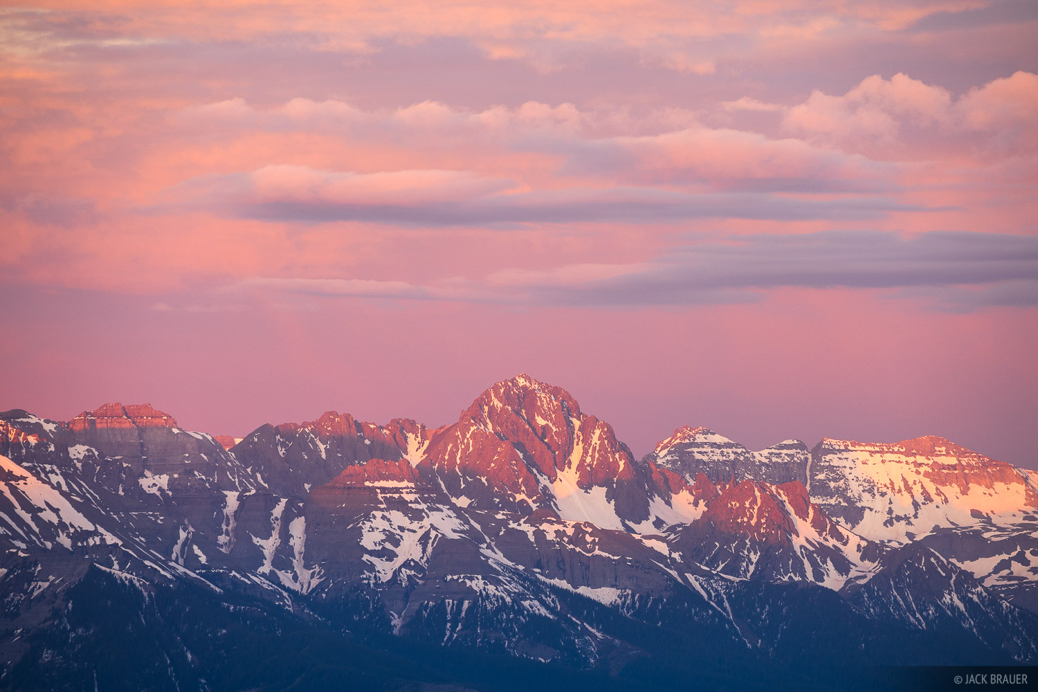 Sunrise light on Mount Sneffels (14,156 ft.) as seen from afar.