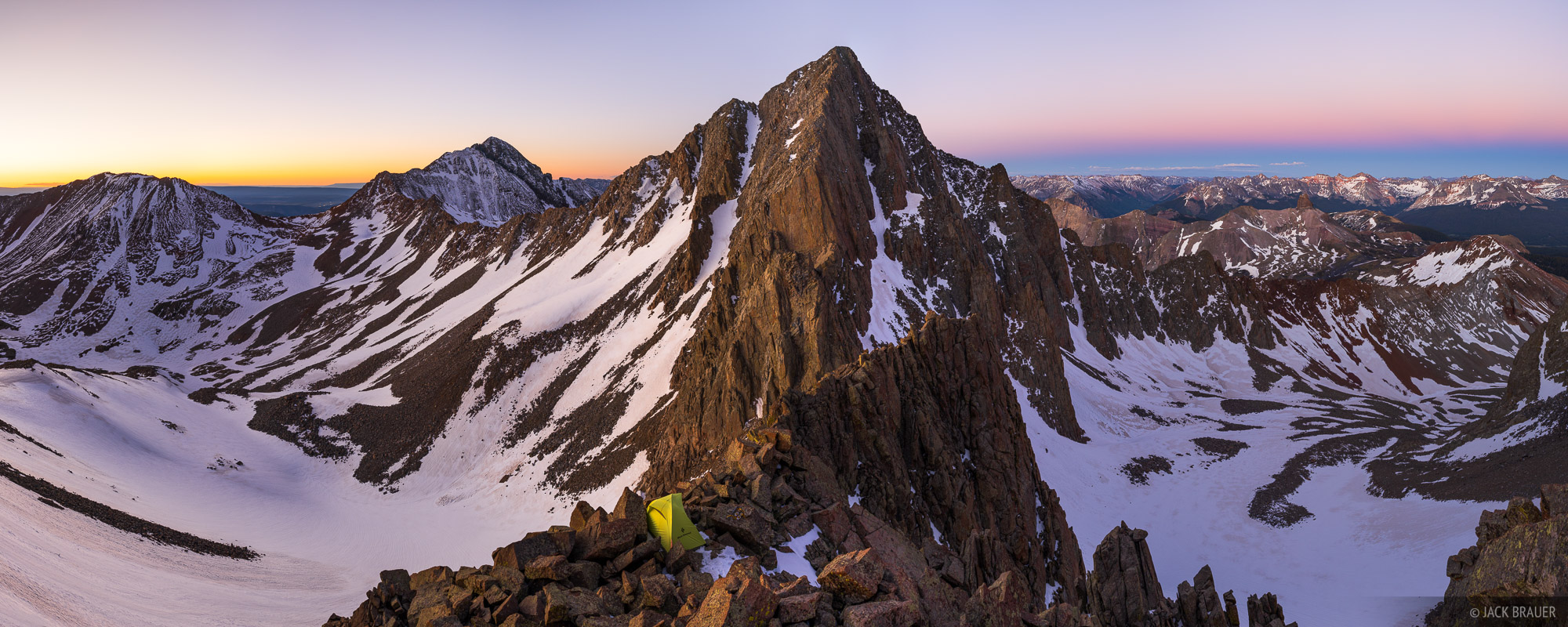 Colorado, Gladstone Peak, Lizard Head Wilderness, San Juan Mountains, San Miguel Range, tent, earthshadow, panorama