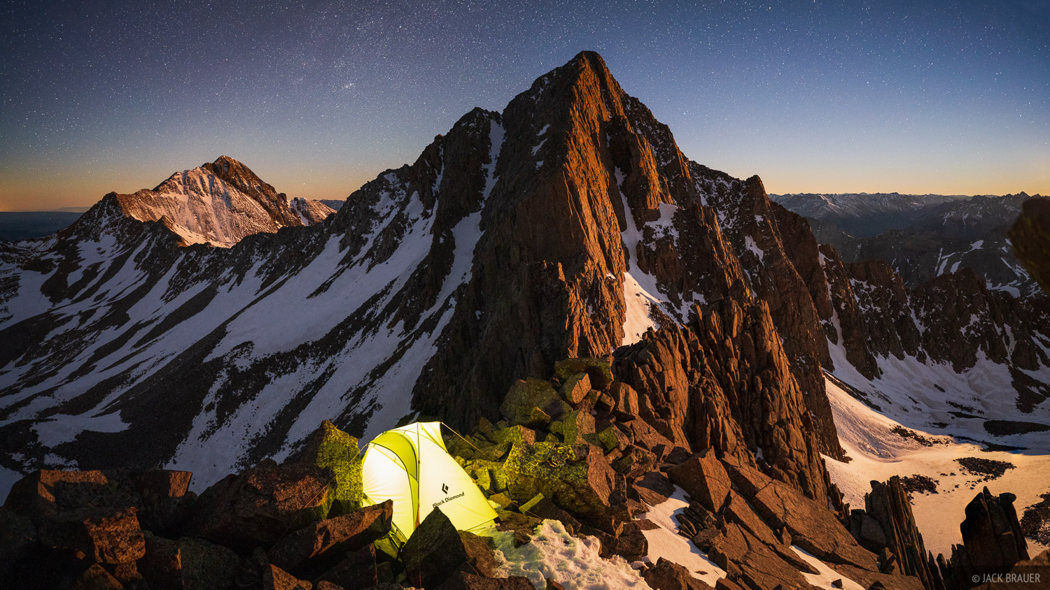 Moonrise light on Gladstone Peak, as seen from a high camp on a 13,400 foot ridge of Mount Wilson.