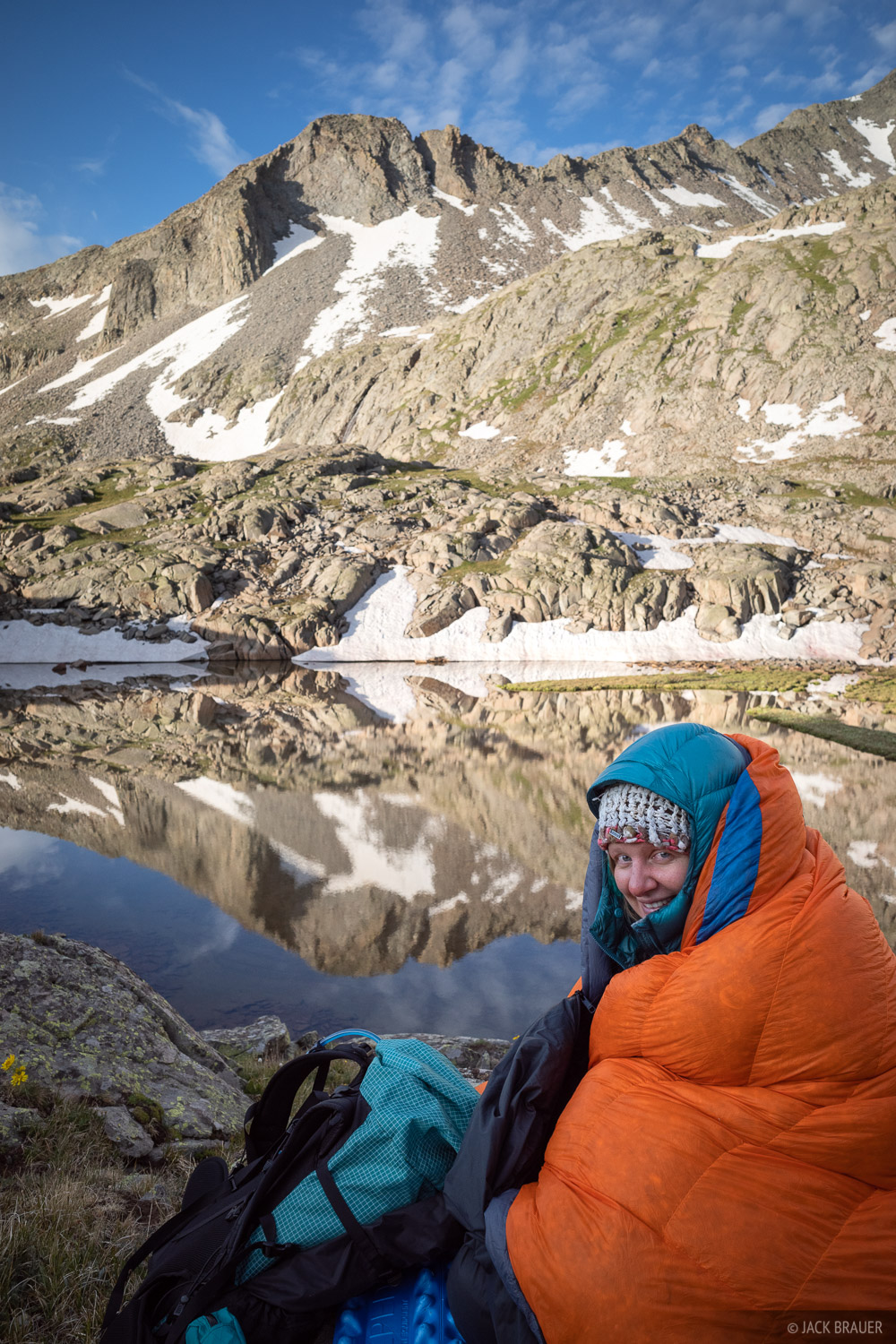 Bundled up in the morning at a high alpine lake.