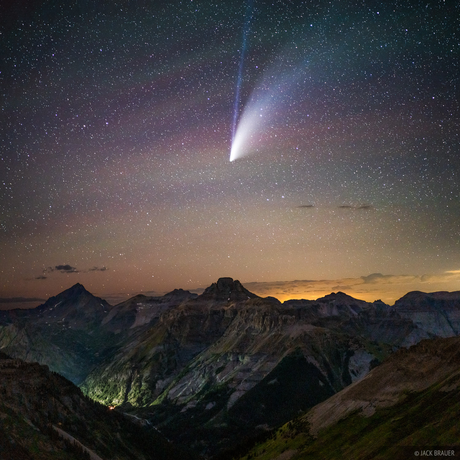 Colorado, Comet NEOWISE, Mount Sneffels, Potosi Peak, San Juan Mountains, Sneffels Range, stars, photo