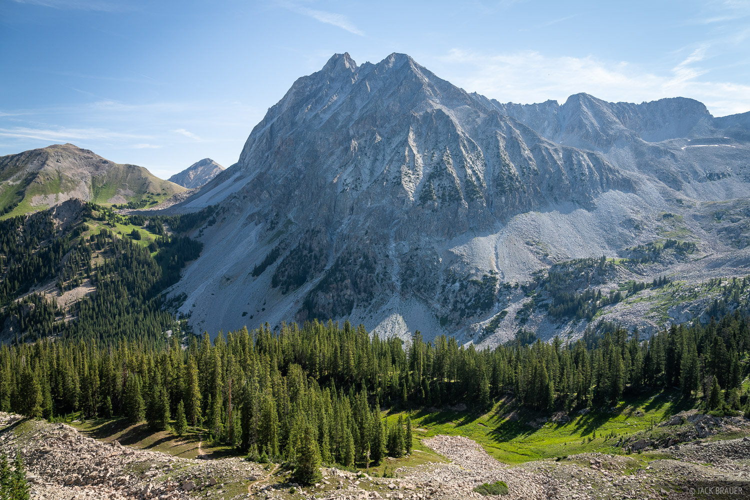 Capitol Peak (14,130 ft.) towers over its surroundings in the Maroon Bells-Snowmass Wilderness.