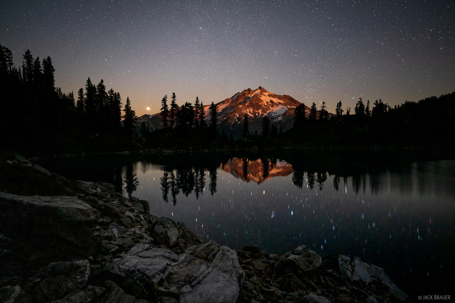 Glacier Peak, Glacier Peak Wilderness, Lake Byrne, Washington, moonlight, stars, Cascades, photo